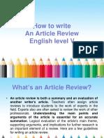Parámetros para un artículo en inglés