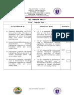Validation Sheets
