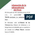 Proclamación de La Independencia - Primer Grado