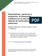 Alejandra Waisman, Florencia Rispoli (..) (2008). Expectativas, Opciones y Proyectos La Dimension Subjetiva en La Eleccion Laboral de Hor (..)