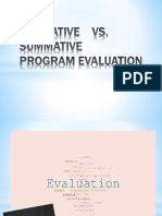 Formative vs Summative  Program Evaluation