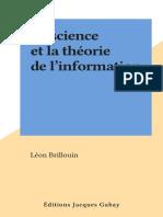 La Ciencia de La Teoria de La Informacion Leon Brilloiun