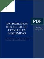 190 PROBLEMAS RESUELTOS DE INTEGRALES INDEFINIDAS