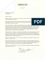 Secretary Acosta Letter to President Trump