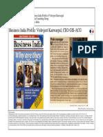 1997-02 Business India Executive Frontrunners Profile of Vishvjeet Kanwarpal CEO GIS-ACG