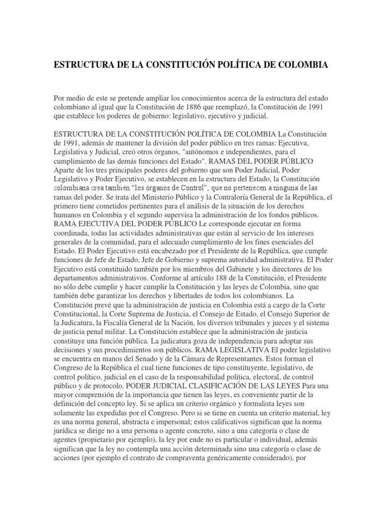 Estructura De La Constitución Política De Colombia Docx