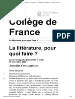 La Littérature, Pour Quoi Faire_ - La Littérature, Pour Quoi Faire_ - Collège de France