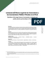 Evolucion del marco legal de las concesiones y las asociaciones publicas privadas en Peru_Pierre Nalvert Salvatierra_Derecho y Sociedad.pdf
