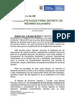 088 Presidente Duque Firma Decreto de Regimen Aduanero