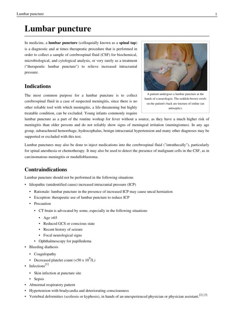 Lumbar puncture | Cerebrospinal Fluid | Meningitis