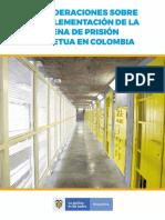 Consideraciones Sobre La Implementacion de La Pena de Prision Perpetua en Colombia