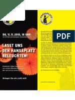 Initiative Hansaplatz  - Flyer 'Lasst uns den Hansaplatz beleuchten' - Do. 11.11.2010 18:00