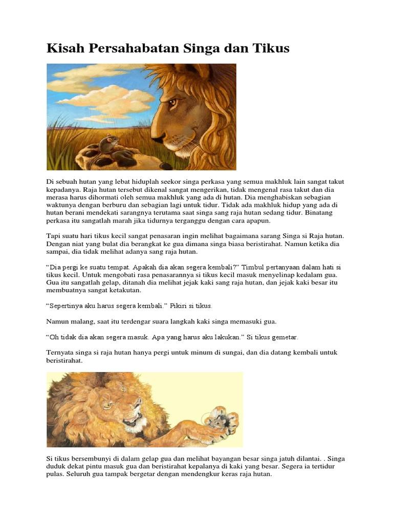 Kisah Persahabatan Singa Dan Tikus