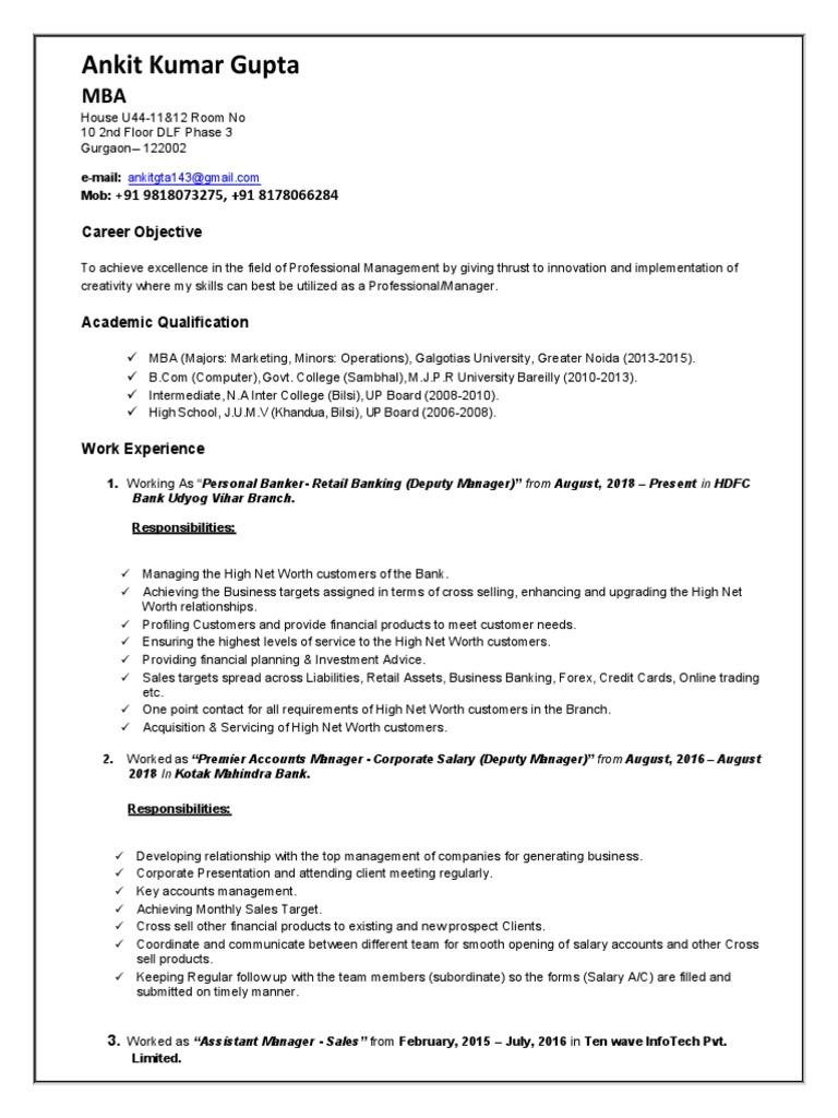 Resume Ankit   Banks   Business