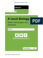 Water Inorganic Ions as Biology Questions AQA OCR Edexcel