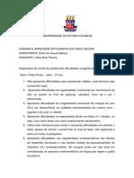 Diagnóstico de Escrita de Análise Das Dificuldades Ortográficas