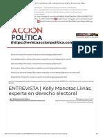 ENTREVISTA _ Kelly Manotas Llinás, Experta en Derecho Electoral