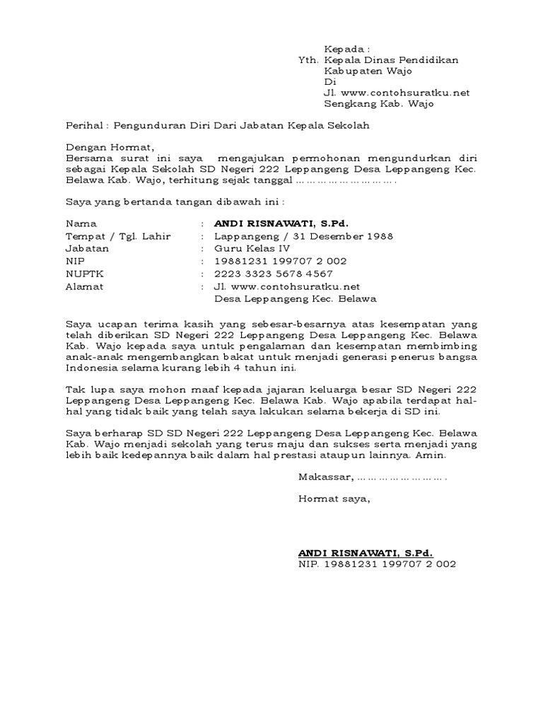 5 Contoh Surat Pengunduran Diri Dari Jabatan Kepala ...