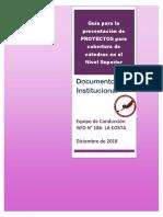 Guía Para La Presentación de PROYECTOS Para Cobertura de Cátedras en El Nivel Superior