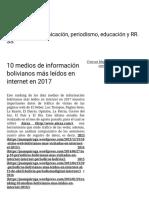 10 Medios de Información Bolivianos Más Leídos en Internet en 2017 – Juan Quiroga