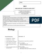 Bio Prelim Exam 2013