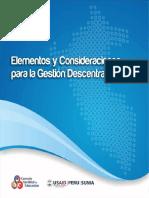 Elementos y consideraciones para la Gestión Descentralizada.