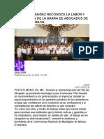 LAURA FERNÁNDEZ RECONOCE LA LABOR Y APORTACIÓN DE LA BARRA DE ABOGADOS DE PUERTO MORELOS