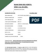 Surat Perjanjian Sewa Beli Kereta Proton Persona 1(Amri)