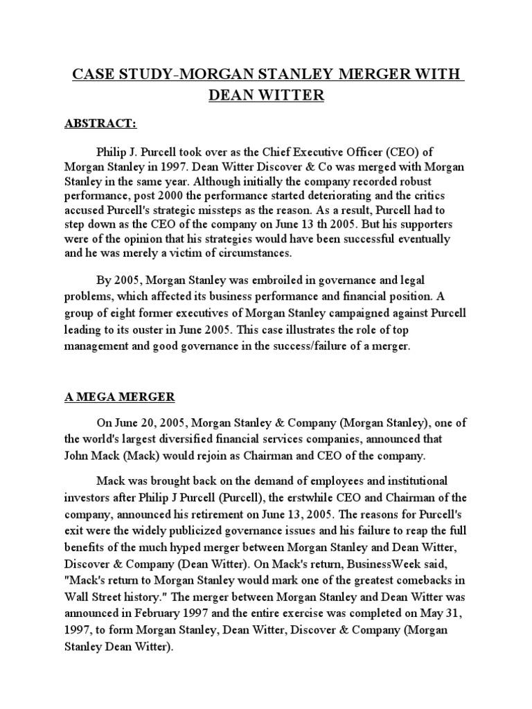 Ma Case Study Morgan Dean Witter Pixar Morgan Stanley