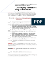 Worksheet 121 Classifying Sentences According to Structure