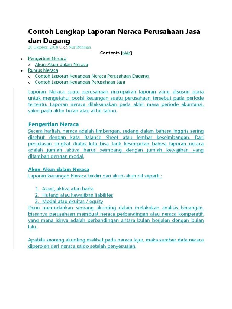 Laporan Neraca Perusahaan Jasa Dan Dagang