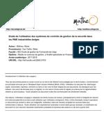 Etude de l'Utilisation Des Systèmes de Contrôle de Gestion de La Sécurité Au Sein Des PME Industrielles Belges