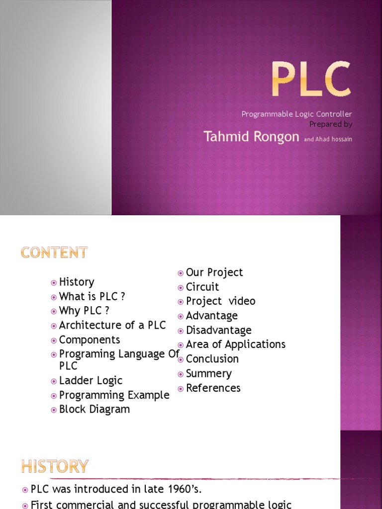 Tahmid Rongon Programmable Logic Controller Programmable Logic Controller Automation