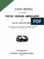 Juicio Critico de Algunos Poetas Hispano Americanos
