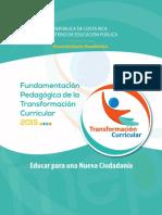 Transformación Curricular Academico MEP Costa Rica (2015 vigente aún al 2019)