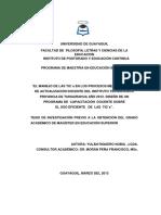 El Manejo de Las Tic's en Los Procesos Metodológicos de Actualización Docente Del Instituto Tecnológico Provincia de Tungurahua