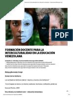 Formación Docente Para La Interculturalidad en La Educación Venezolana – OtrasVocesenEducacion.org