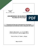 Proyecto Tesis de grado de Lic en Psicología UBA