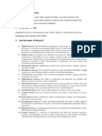 List of topics of Literacy Development.
