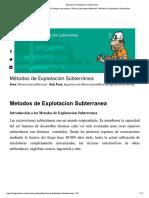 Blog - Métodos de Explotación Subterranea