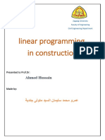 Linear Programming in Construction