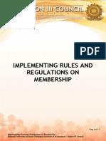 Rules and Regulation Membership