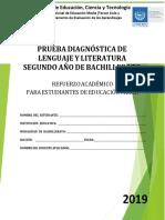 Prueba de Diagnóstico de Lenguaje y Literatura Segundo Año de Bachillerato - 2019