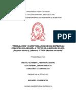 Formulación y Caracterización de Una Biopelícula Comestible Elaborada a Partir de Almidón de Sorgo (Sorghum Bicolor (L.) Moench) y Yuca (Manihot Esculenta)