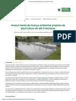 Imasul Isenta de Licença Ambiental Projetos de Piscicultura de Até 5 Hectares –