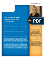 Tips for Evaluators Adults Adolescents