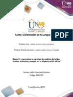 Formato Tarea 5 - Responder Preguntas de Análisis Del Video Teorías, Métodos y Modas en La Alfabetización Inicial