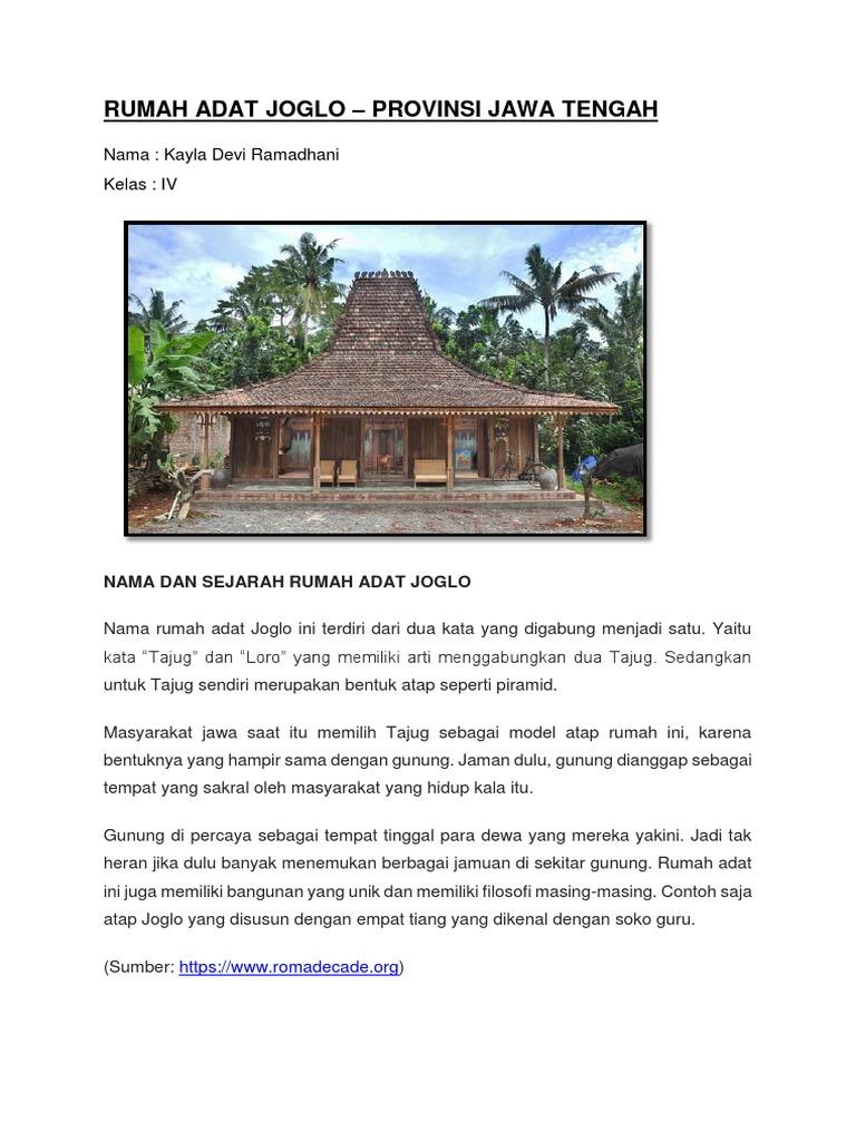 920 Gambar Rumah Adat Jawa Tengah Beserta Namanya HD Terbaru