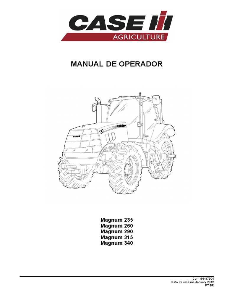 Manual do Operador Trator Case ih Magnum 235, 260 ,290
