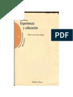 John Dewey. Experiencia y Educación. Edición de Javier Sáenz Obregón
